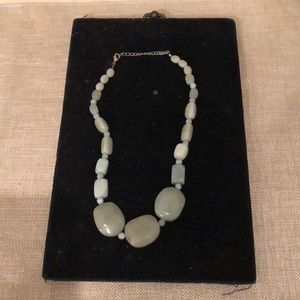 Jewelry - Amazonite real stone, chunky necklace, silver-tone